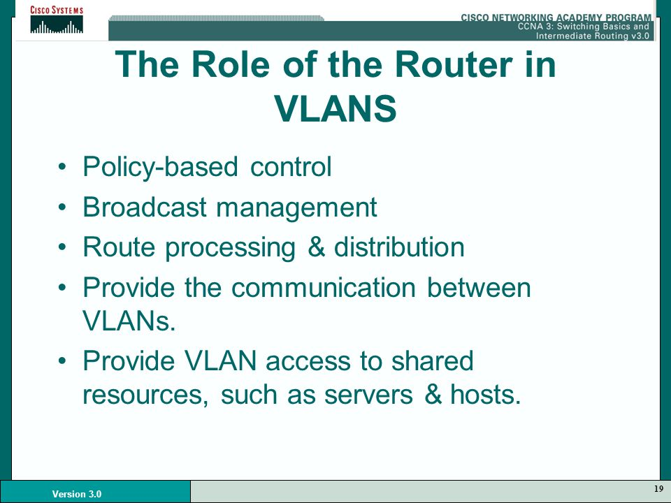 19 Version 3.0 The Role of the Router in VLANS Policy-based control Broadcast management Route processing & distribution Provide the communication between VLANs.