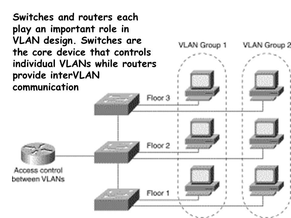 Switches and routers each play an important role in VLAN design.