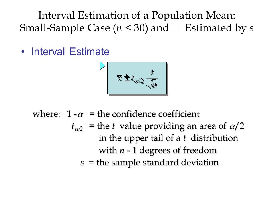Interval Estimate Interval Estimation of a Population Mean: Small-Sample Case ( n < 30) and  Estimated by s where: 1 -  = the confidence coefficient t  /2 = the t value providing an area of  /2 t  /2 = the t value providing an area of  /2 in the upper tail of a t distribution in the upper tail of a t distribution with n - 1 degrees of freedom with n - 1 degrees of freedom s = the sample standard deviation s = the sample standard deviation