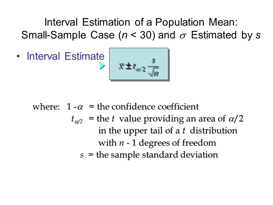 Interval Estimate Interval Estimation of a Population Mean: Small-Sample Case (n < 30) and  Estimated by s where: 1 -  = the confidence coefficient t  /2 = the t value providing an area of  /2 t  /2 = the t value providing an area of  /2 in the upper tail of a t distribution in the upper tail of a t distribution with n - 1 degrees of freedom with n - 1 degrees of freedom s = the sample standard deviation s = the sample standard deviation