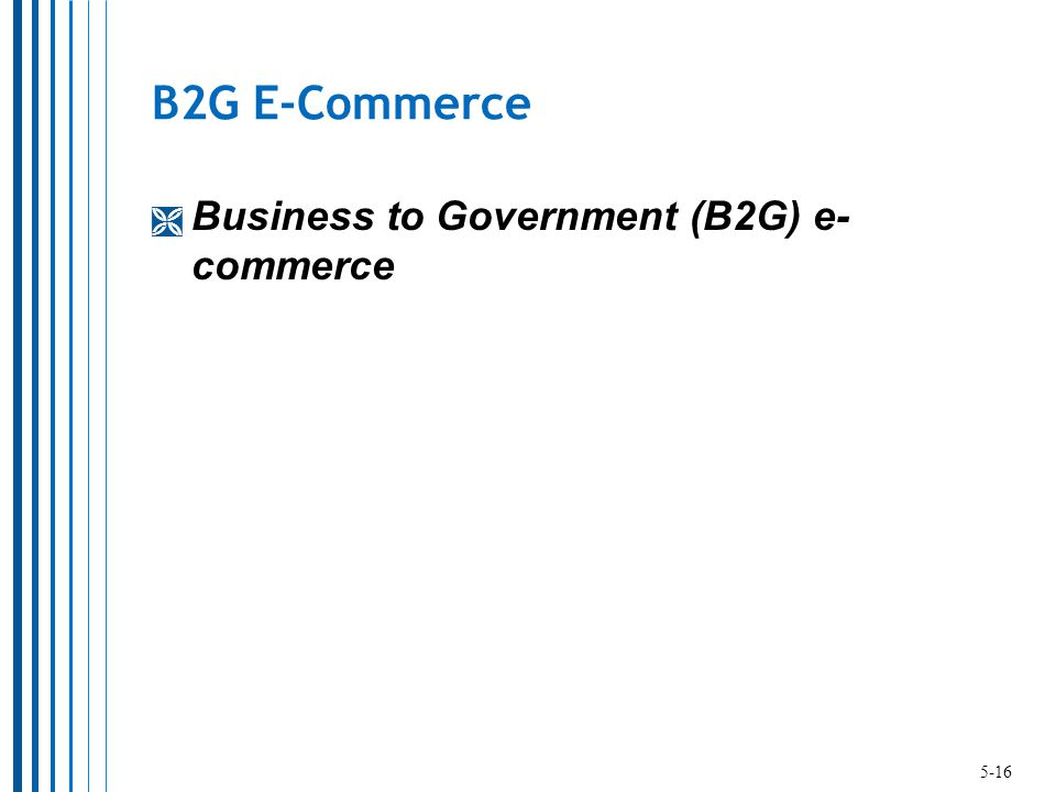 B2G E-Commerce  Business to Government (B2G) e- commerce 5-16