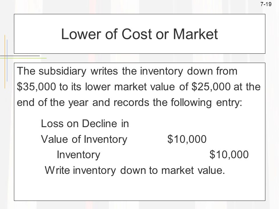 7-19 Lower of Cost or Market The subsidiary writes the inventory down from $35,000 to its lower market value of $25,000 at the end of the year and records the following entry: Loss on Decline in Value of Inventory $10,000 Inventory $10,000 Write inventory down to market value.