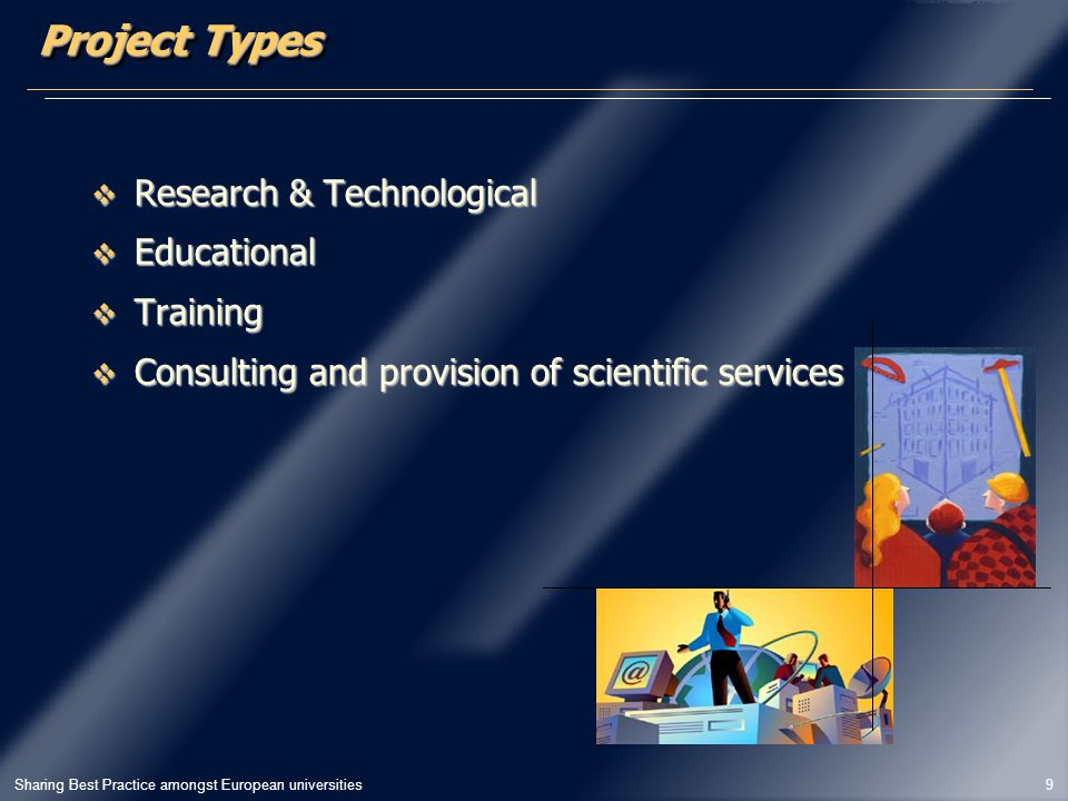 Sharing Best Practice amongst European universities 9 Project Types  Research & Technological  Educational  Training  Consulting and provision of scientific services