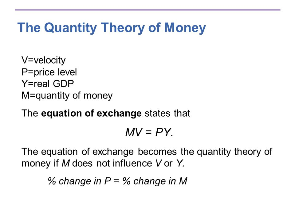 the quantity theory of money assumes that