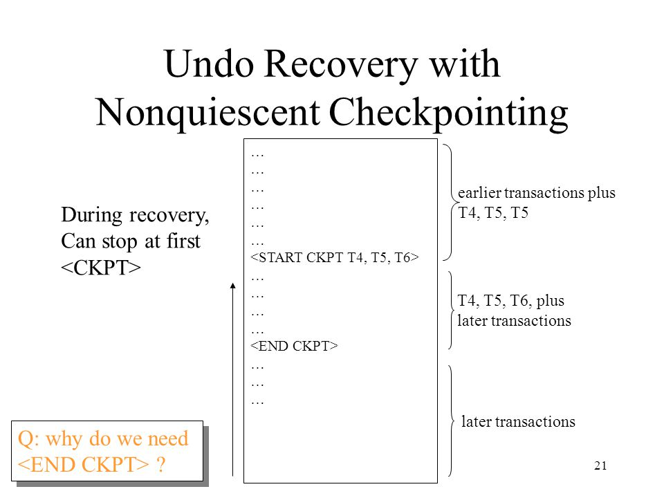 21 Undo Recovery with Nonquiescent Checkpointing … … … During recovery, Can stop at first T4, T5, T6, plus later transactions earlier transactions plus T4, T5, T5 later transactions Q: why do we need .