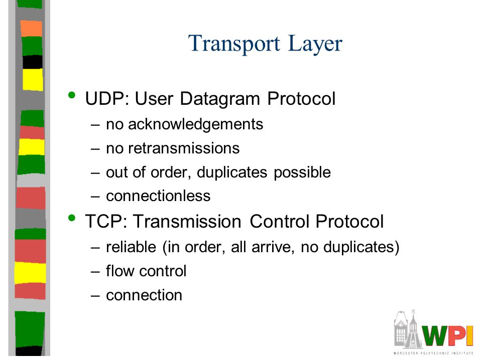 Transport Layer UDP: User Datagram Protocol –no acknowledgements –no retransmissions –out of order, duplicates possible –connectionless TCP: Transmission Control Protocol –reliable (in order, all arrive, no duplicates) –flow control –connection
