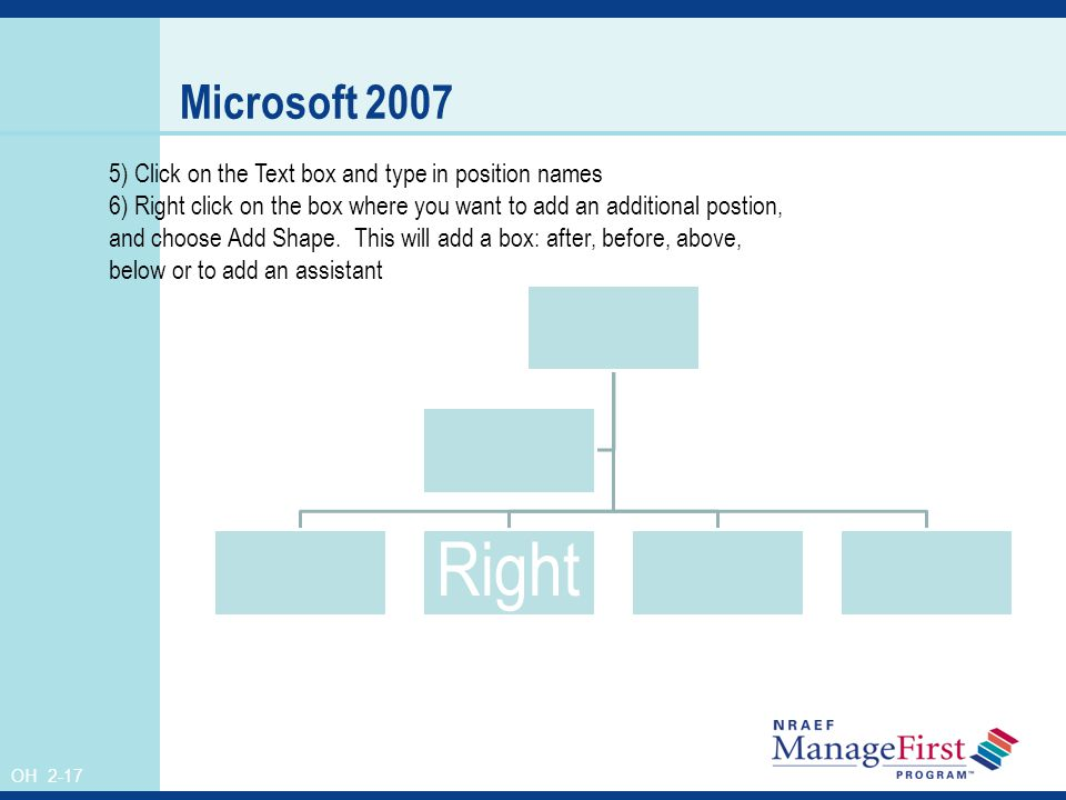 OH 2-17 Microsoft 2007 Right 5) Click on the Text box and type in position names 6) Right click on the box where you want to add an additional postion, and choose Add Shape.