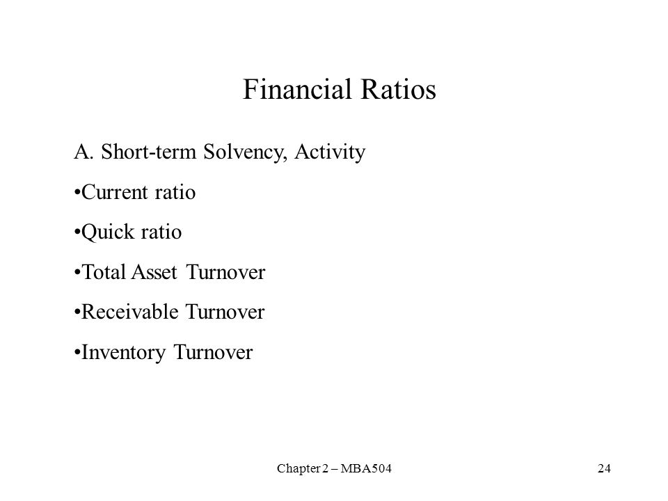 Chapter 2 – MBA50424 Financial Ratios A.