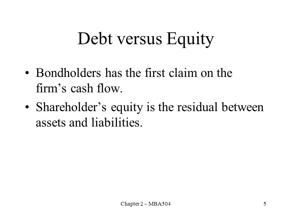 Chapter 2 – MBA5045 Debt versus Equity Bondholders has the first claim on the firm's cash flow.