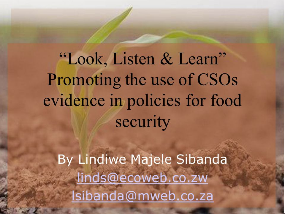 Look, Listen & Learn Promoting the use of CSOs evidence in policies for food security By Lindiwe Majele Sibanda