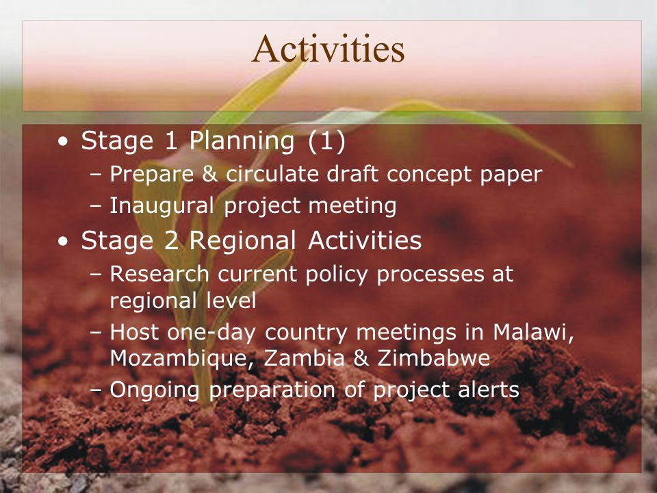 Activities Stage 1 Planning (1) –Prepare & circulate draft concept paper –Inaugural project meeting Stage 2 Regional Activities –Research current policy processes at regional level –Host one-day country meetings in Malawi, Mozambique, Zambia & Zimbabwe –Ongoing preparation of project alerts
