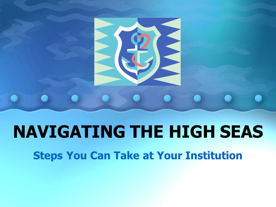 NAVIGATING THE HIGH SEAS Steps You Can Take at Your Institution
