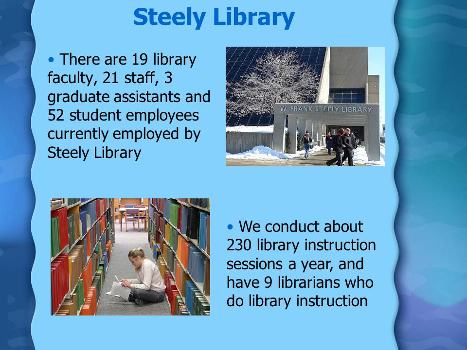 Steely Library There are 19 library faculty, 21 staff, 3 graduate assistants and 52 student employees currently employed by Steely Library We conduct about 230 library instruction sessions a year, and have 9 librarians who do library instruction