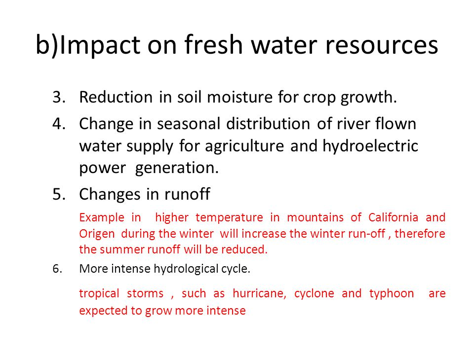b)Impact on fresh water resources 3.Reduction in soil moisture for crop growth.