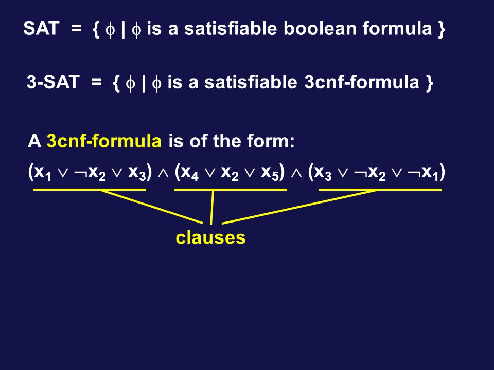 A 3cnf-formula is of the form: (x 1   x 2  x 3 )  (x 4  x 2  x 5 )  (x 3   x 2   x 1 ) clauses SAT = {  |  is a satisfiable boolean formula } 3-SAT = {  |  is a satisfiable 3cnf-formula }