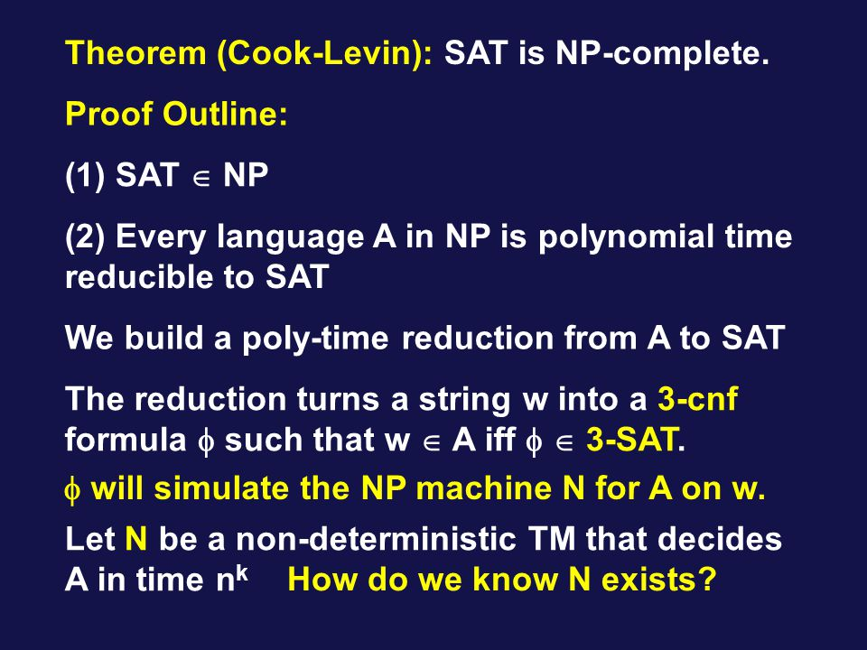 Theorem (Cook-Levin): SAT is NP-complete.