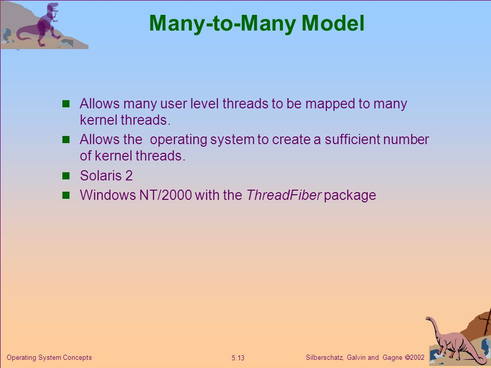 Silberschatz, Galvin and Gagne  Operating System Concepts Many-to-Many Model Allows many user level threads to be mapped to many kernel threads.