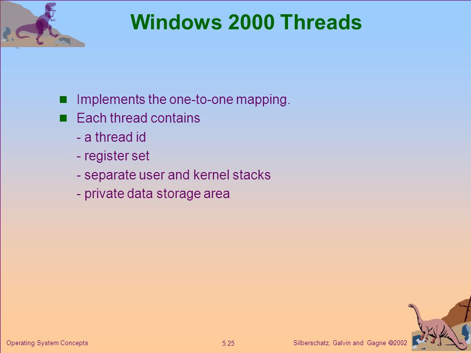 Silberschatz, Galvin and Gagne  Operating System Concepts Windows 2000 Threads Implements the one-to-one mapping.