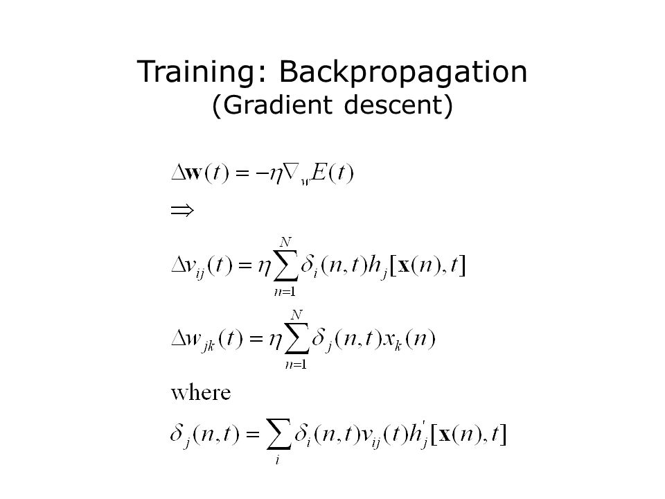 Training: Backpropagation (Gradient descent)