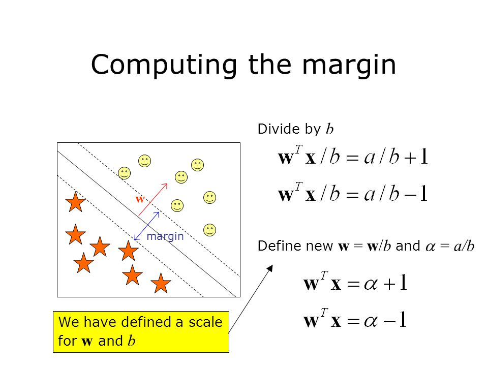 Divide by b Define new w = w/b and  = a/b margin Computing the margin w We have defined a scale for w and b