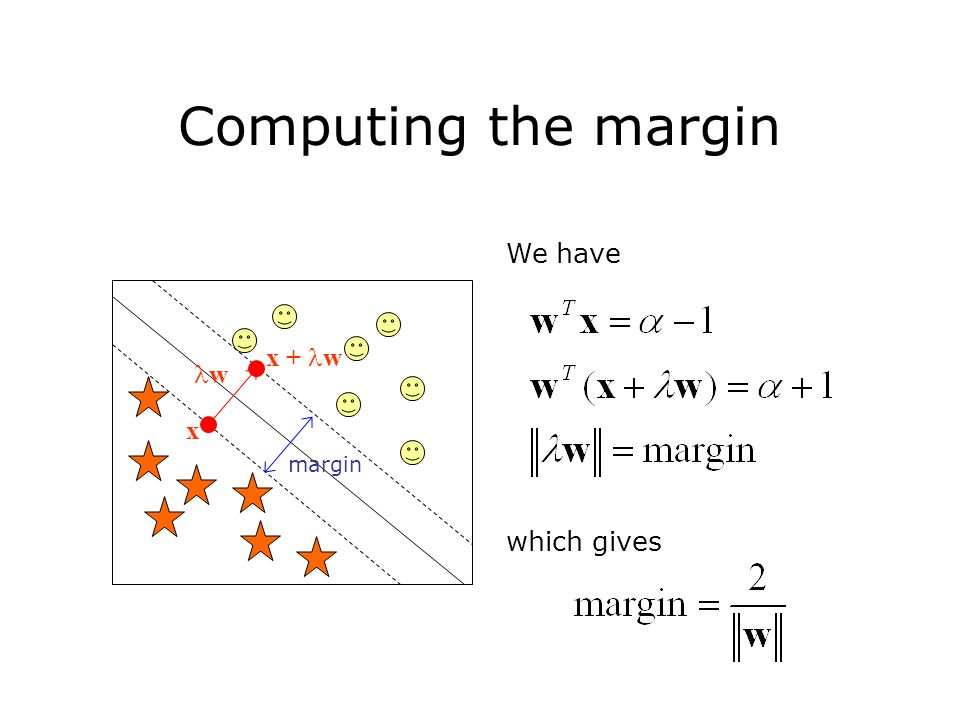 We have which gives margin Computing the margin w x x + w