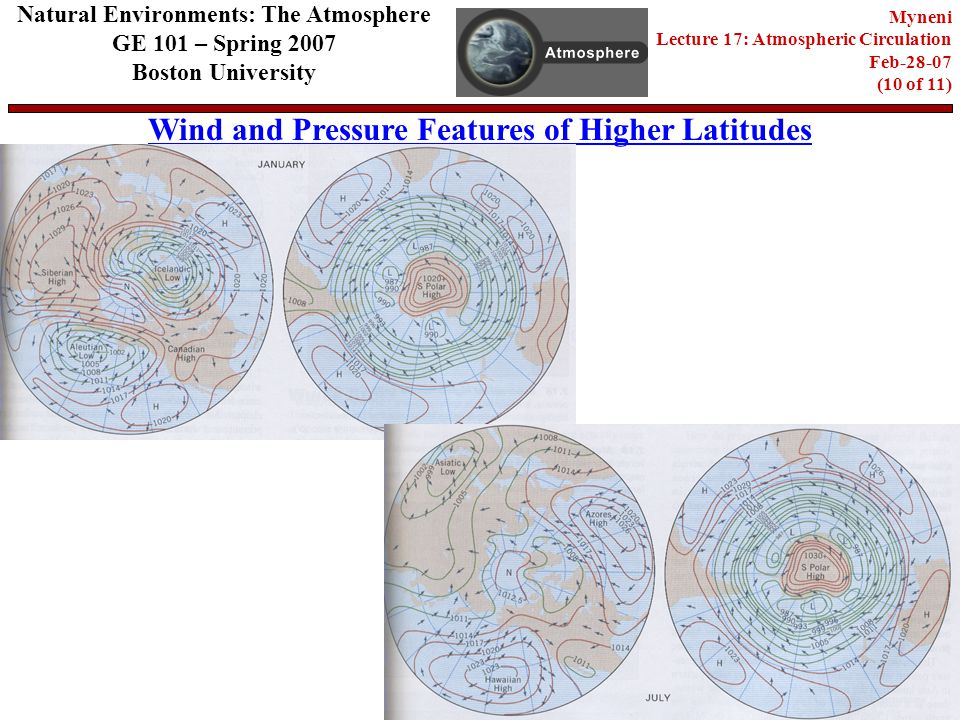 Natural Environments: The Atmosphere GE 101 – Spring 2007 Boston University Wind and Pressure Features of Higher Latitudes Myneni Lecture 17: Atmospheric Circulation Feb (10 of 11)