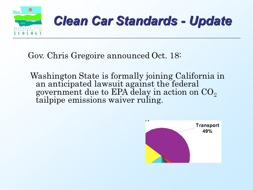 Clean Car Standards - Update Gov. Chris Gregoire announced Oct.