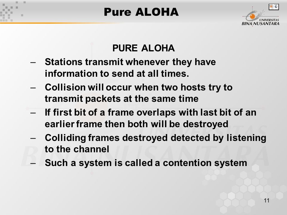 11 Pure ALOHA PURE ALOHA –Stations transmit whenever they have information to send at all times.
