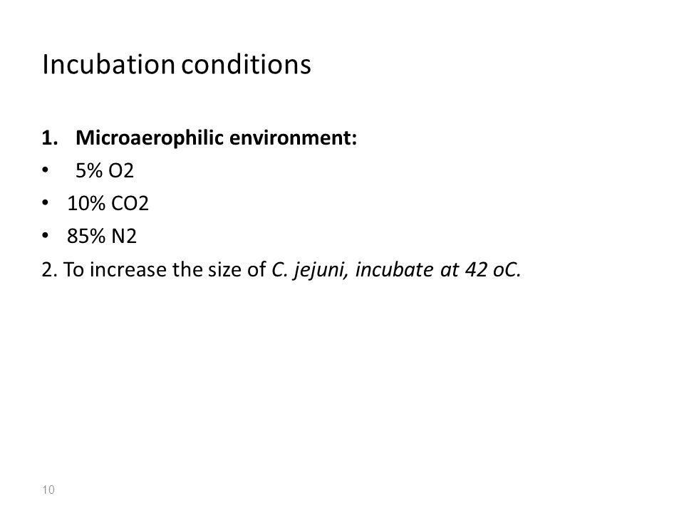 Incubation conditions 1.Microaerophilic environment: 5% O2 10% CO2 85% N2 2.