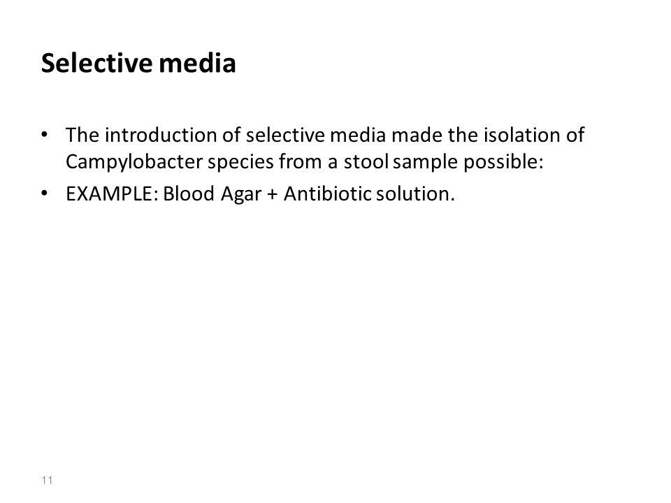 Selective media The introduction of selective media made the isolation of Campylobacter species from a stool sample possible: EXAMPLE: Blood Agar + Antibiotic solution.