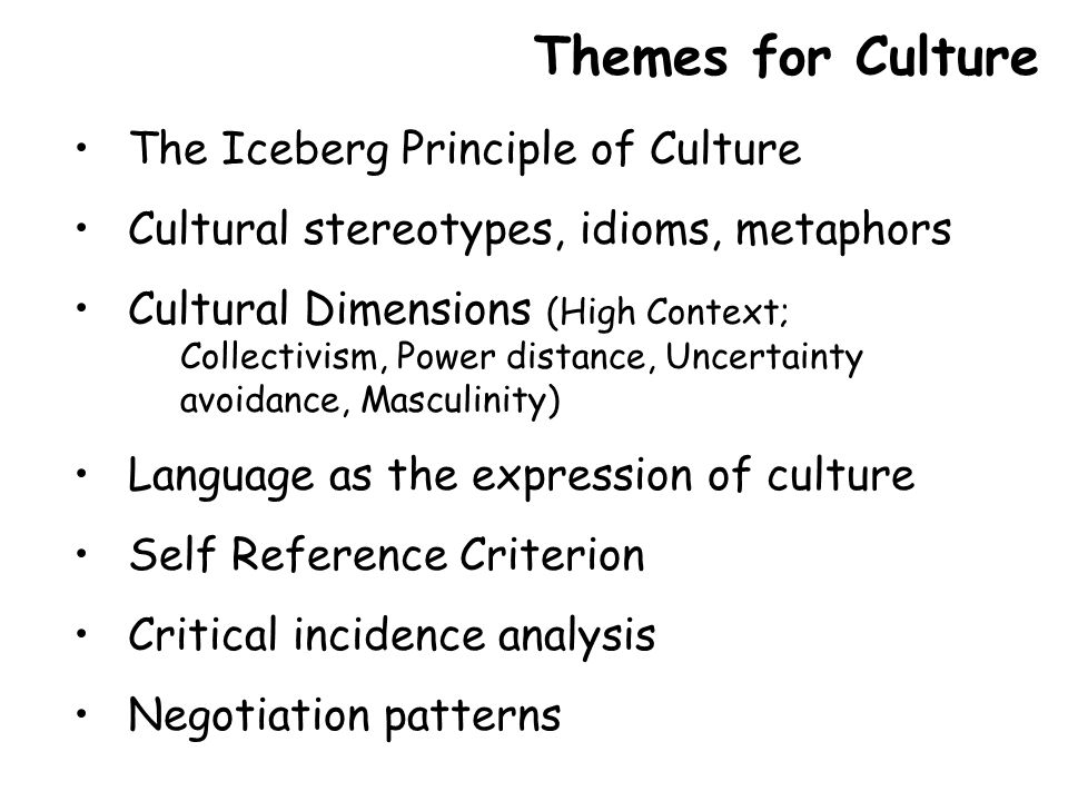 The Iceberg Principle of Culture Cultural stereotypes, idioms, metaphors Cultural Dimensions (High Context; Collectivism, Power distance, Uncertainty avoidance, Masculinity) Language as the expression of culture Self Reference Criterion Critical incidence analysis Negotiation patterns Themes for Culture