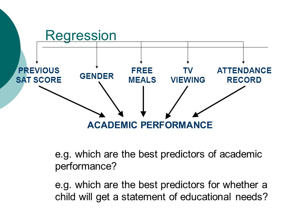 Regression e.g. which are the best predictors of academic performance.