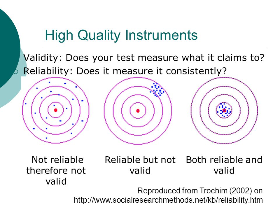 High Quality Instruments  Validity: Does your test measure what it claims to.