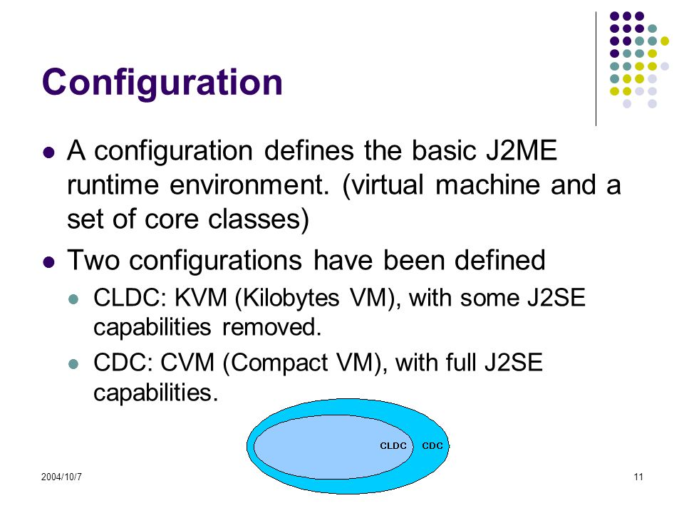 2004/10/711 Configuration A configuration defines the basic J2ME runtime environment.