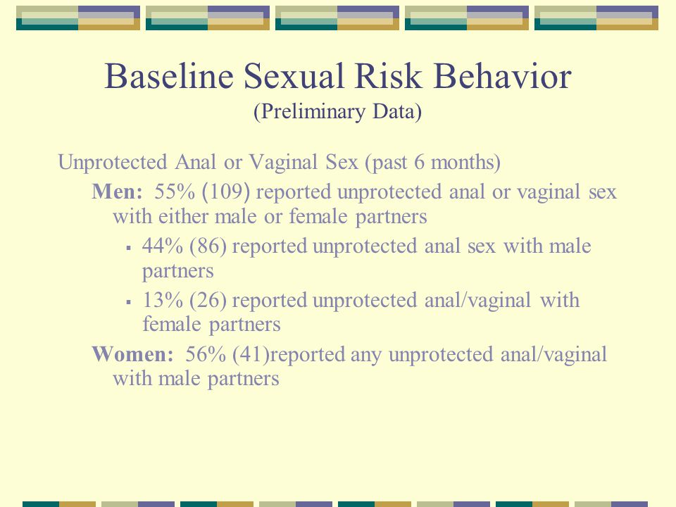 Baseline Sexual Risk Behavior (Preliminary Data) Unprotected Anal or Vaginal Sex (past 6 months) Men: 55% ( 109 ) reported unprotected anal or vaginal sex with either male or female partners  44% (86) reported unprotected anal sex with male partners  13% (26) reported unprotected anal/vaginal with female partners Women: 56% (41)reported any unprotected anal/vaginal with male partners