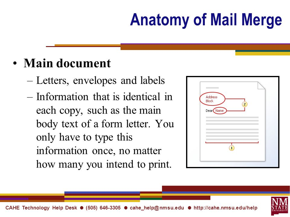 CAHE Technology Help Desk ● (505) ● ●   Anatomy of Mail Merge Main document –Letters, envelopes and labels –Information that is identical in each copy, such as the main body text of a form letter.