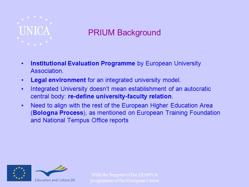 With the Support of the TEMPUS programme of the European Union PRIUM Background Institutional Evaluation Programme by European University Association.