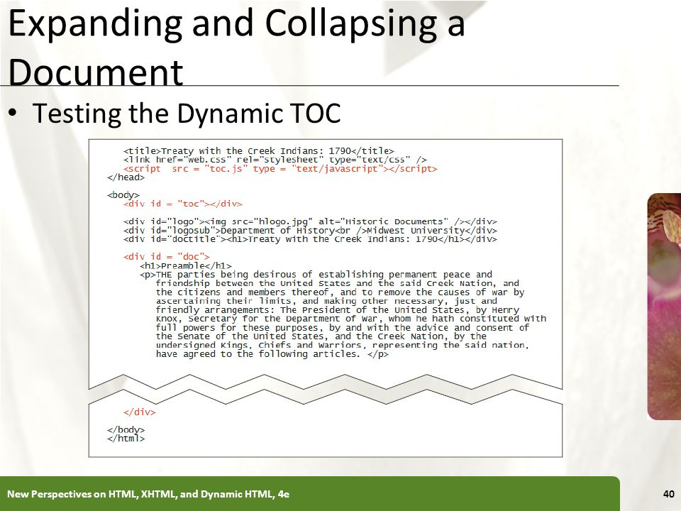 XP Expanding and Collapsing a Document Testing the Dynamic TOC New Perspectives on HTML, XHTML, and Dynamic HTML, 4e40
