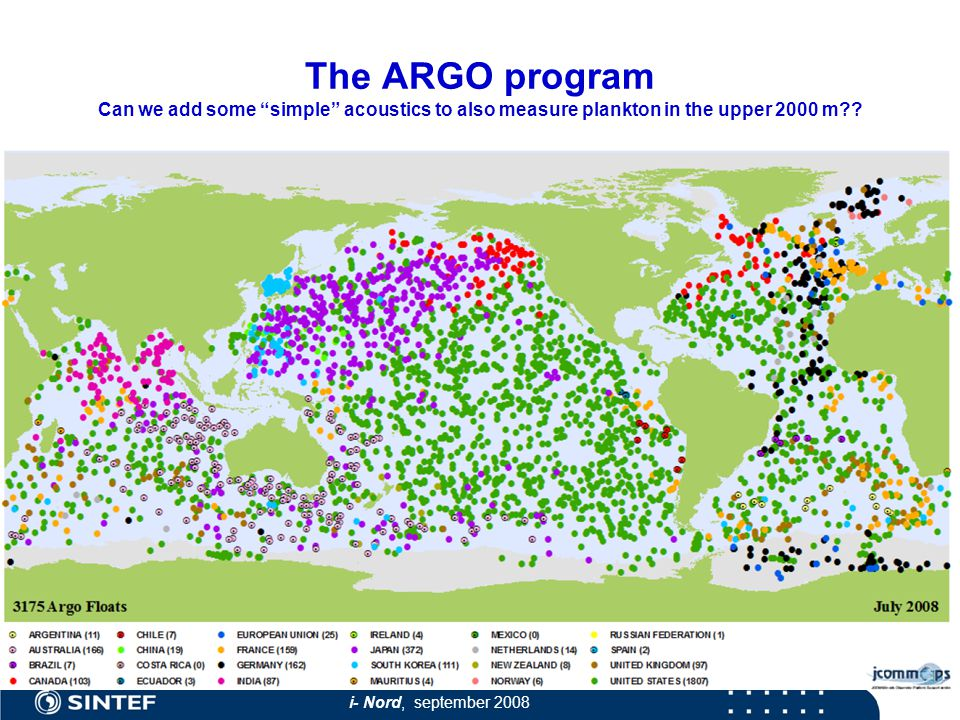 i- Nord, september 2008 The ARGO program Can we add some simple acoustics to also measure plankton in the upper 2000 m