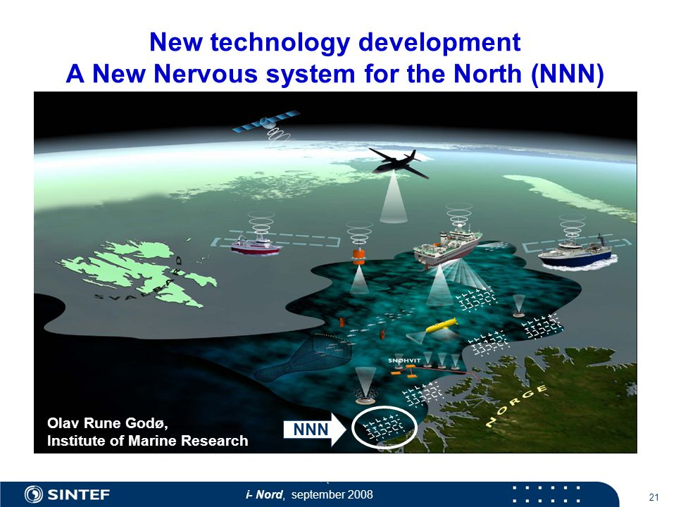 i- Nord, september New technology development A New Nervous system for the North (NNN) Olav Rune Godø, Institute of Marine Research NNN
