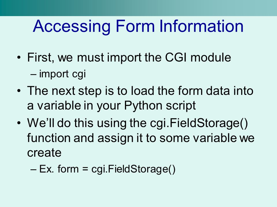 Python, CGI November 23, Unit 8  So Far We can write
