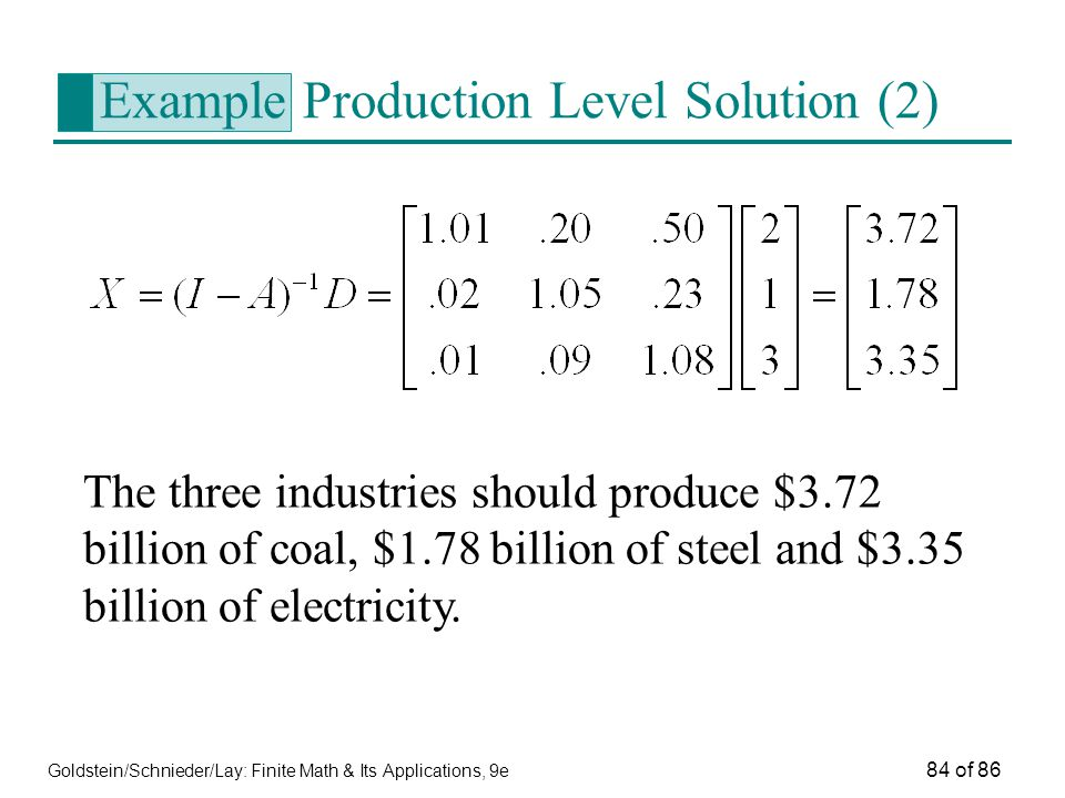 Goldstein/Schnieder/Lay: Finite Math & Its Applications, 9e 84 of 86 Example Production Level Solution (2) The three industries should produce $3.72 billion of coal, $1.78 billion of steel and $3.35 billion of electricity.