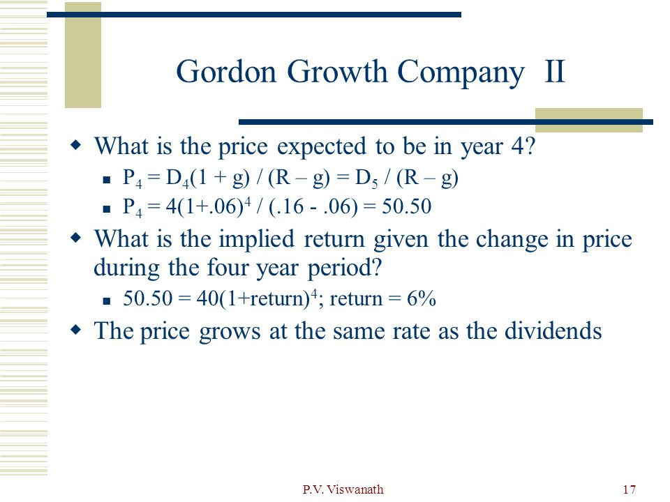 P.V. Viswanath17 Gordon Growth Company II  What is the price expected to be in year 4.
