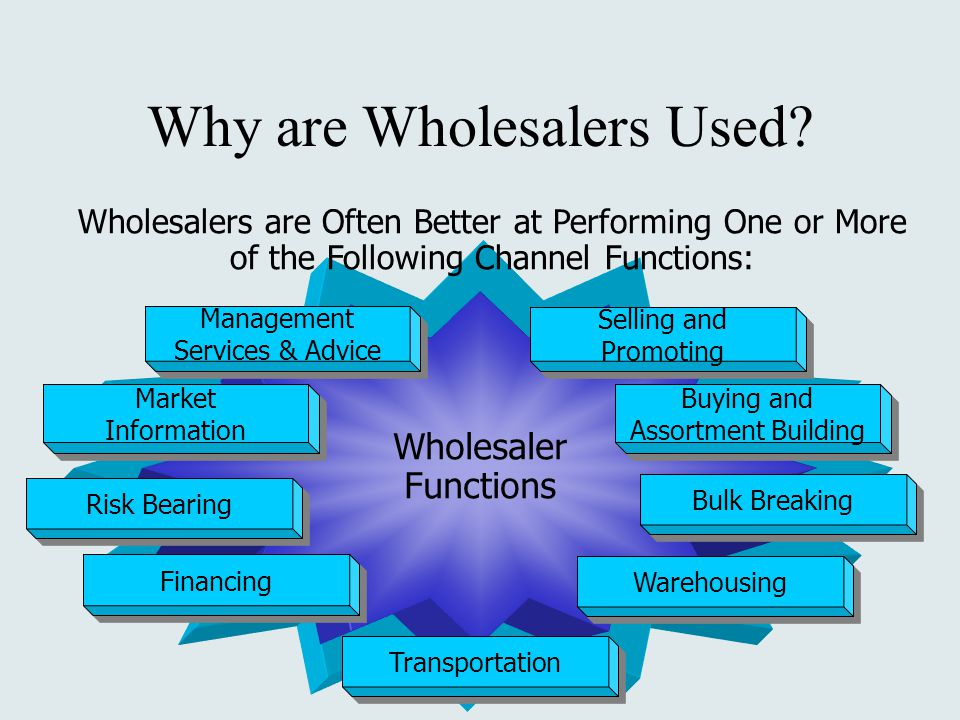 Wholesaler Functions Management Services & Advice Management Services & Advice Selling and Promoting Selling and Promoting Market Information Market Information Buying and Assortment Building Buying and Assortment Building Risk Bearing Bulk Breaking Transportation Financing Warehousing Wholesalers are Often Better at Performing One or More of the Following Channel Functions: Why are Wholesalers Used