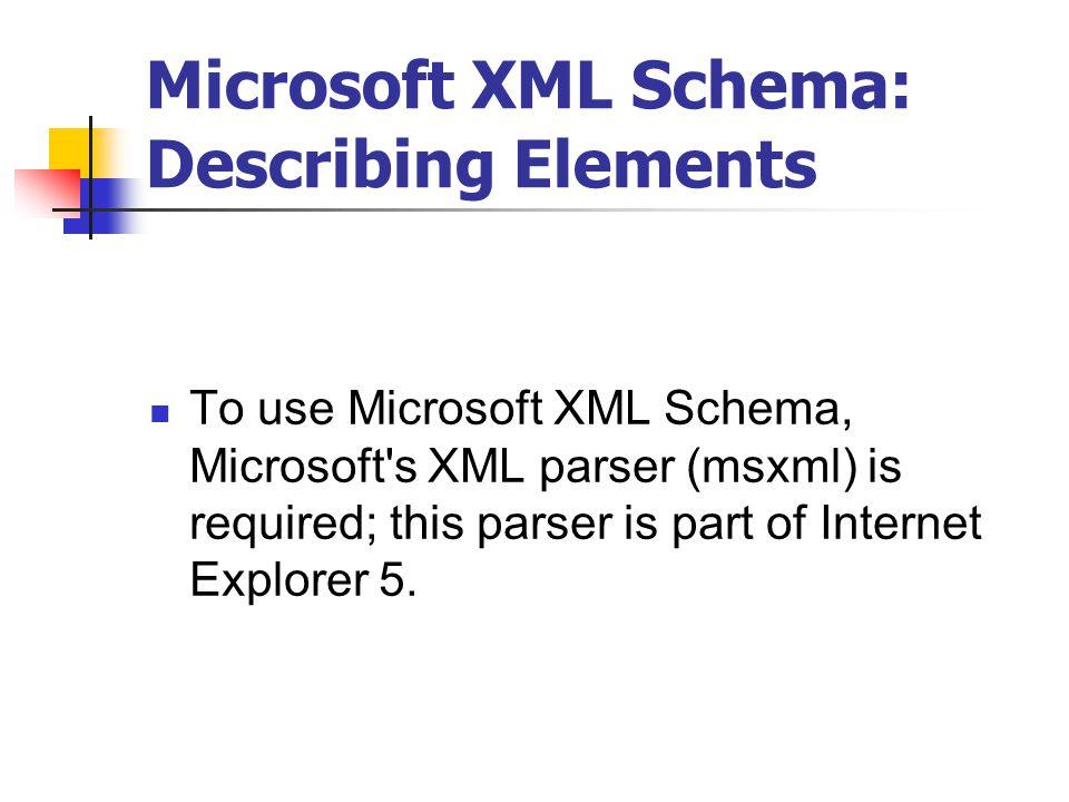 XML Schemas Microsoft XML Schemas W3C XML Schemas  - ppt download
