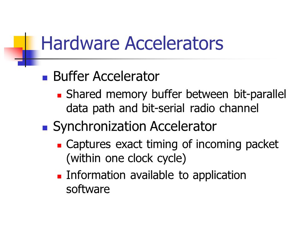 Hardware Accelerators Buffer Accelerator Shared memory buffer between bit-parallel data path and bit-serial radio channel Synchronization Accelerator Captures exact timing of incoming packet (within one clock cycle) Information available to application software
