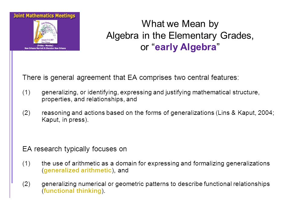 Algebra in the Elementary Grades: Defining Research