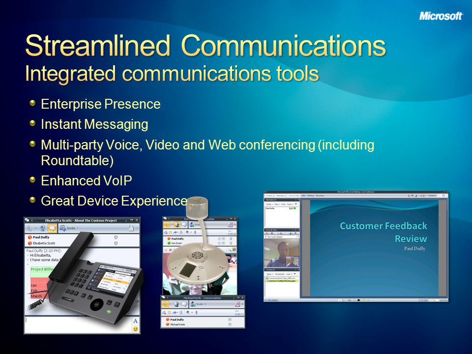 Enterprise Presence Instant Messaging Multi-party Voice, Video and Web conferencing (including Roundtable) Enhanced VoIP Great Device Experience