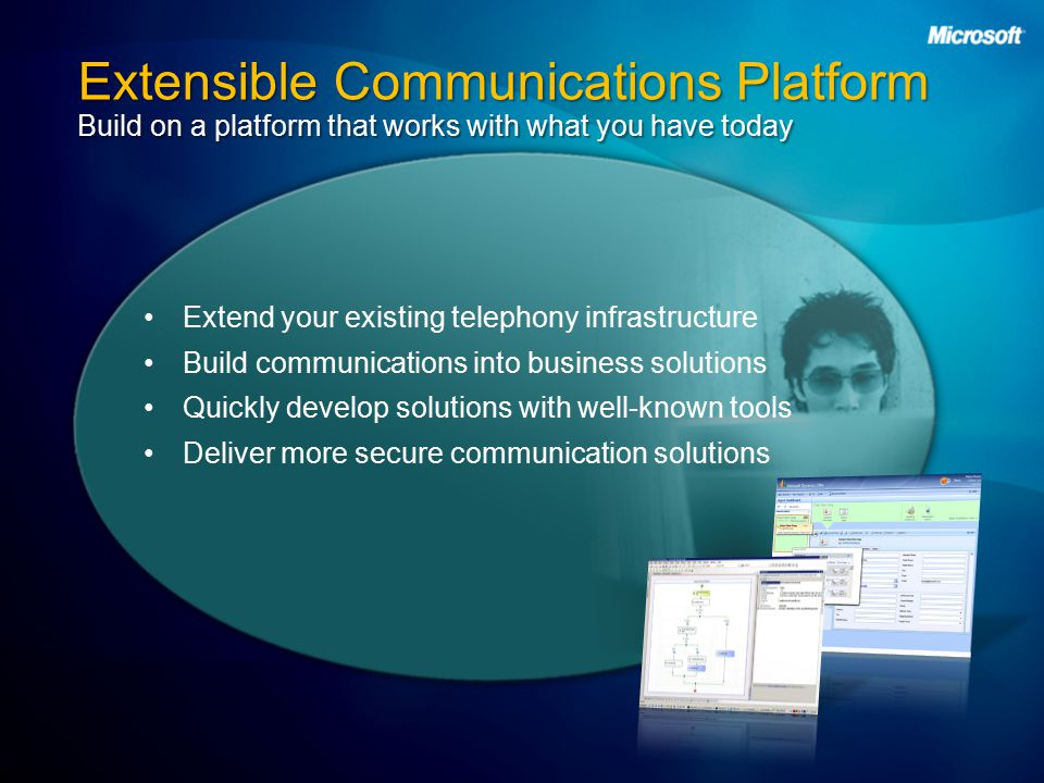 Extensible Communications Platform Build on a platform that works with what you have today Extend your existing telephony infrastructure Build communications into business solutions Quickly develop solutions with well-known tools Deliver more secure communication solutions
