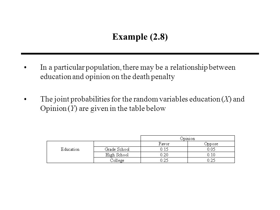 Example (2.8) In a particular population, there may be a relationship between education and opinion on the death penalty The joint probabilities for the random variables education (X) and Opinion (Y) are given in the table below